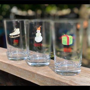 Rae Dunn Set Of 3 Drinking glasses. WISH FROST JOY